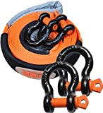 tow hook d ring - 15 ft x 2.5 in Tow Straps Kit,Warmword Tow Straps Heavy Duty with D Ring and Loops,11,000lbs Recovery Straps