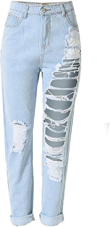 Pantalones Rasgados De Cintura Alta Para Mujer Tallas Exageradas Agujero Boyfriend Jeans Pantalones Festivo Vaqueros Rasgados Pantalones Moda 2019 Ropa De Mujer Amazon Es Ropa Y Accesorios