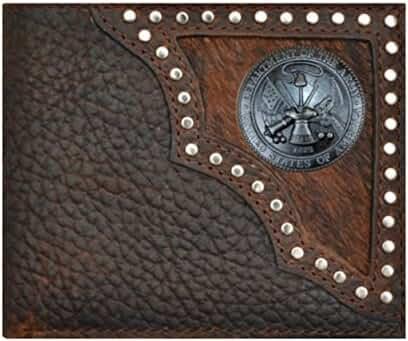 Custom United States Army Justin Brown Hair on Hide Bi-Fold Wallet