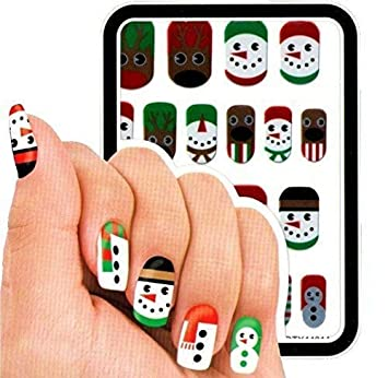 40 Assorted Cute Christmas Nail Art Stickers Decals Transfers Metallic Waterproof (Traditional) Davies Products 54755