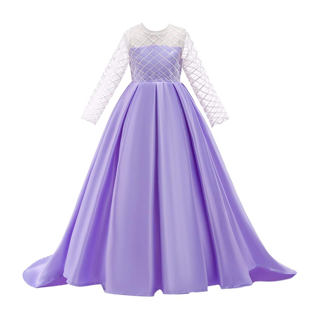 Kids Girls Solid Color Vintage Gown Teens Lace Long Sleeve Floor Bridesmaid Party Dance Dresses for Wedding (Age:8-9 Years, Purple) by FDSD Baby Clothes