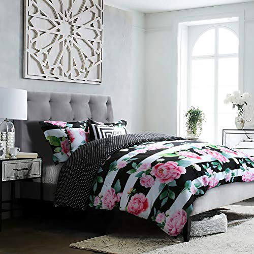 Studio8 Brand - Love Printed Comforter Set - 6 Piece - Pinks/Greens/Black/White - Handpainted Floral Design - Full/Queen Size, Includes 1 Comforter, 2 Shams, 3 Decorative Pillows - Easy Care (Comforter Green Floral)