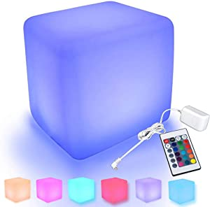 RISINGSUN 8'' LED Cube Seat Night Light Mood Lamp Rechargeable and Removable, with Remote Control for Indoor Outdoor Parties Home & Bar and Party & Garden & Pool & Patio Romantic Decorative Lighting