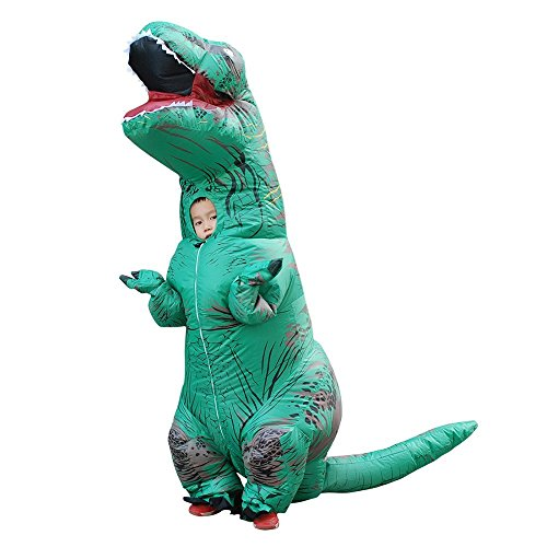 Inflatable Dinosaur Costume Video (Wecloth Halloween Costume Inflatable Dargon Dinosaur Unicorn T-Rex Adult Colorful T Rex Jurassic Outfit (Child(37-59in/95-150cm), Green))