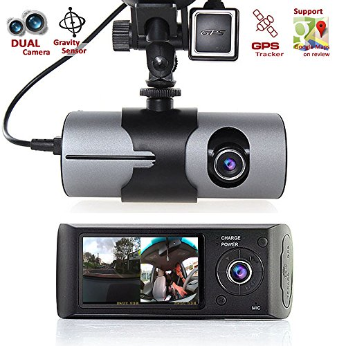 Indigi HD Dual Camera Front+InCab Driving Recorder Car DVR GPS+Gravity Sensor FREE 32GB