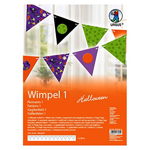 Ursus 57450011 Halloween Triangular Bunting Pack of 12 Assorted Colours ()