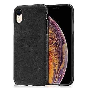 Mthinkor Funda iPhone XR Slim Caso Hecho del Material de Alcantara para iPhone XR(Negro)