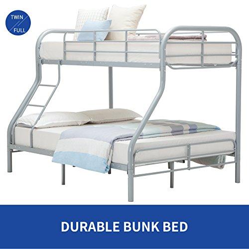 DFM Full Metal Twin over Bunk Beds Teens/ Kids /Dorm Bedroom Furniture with Ladder ,Sliver - Bunk Bed Top Only