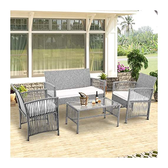 Merax Patio Conversation Set Outdoor Garden Lawn Pool Rattan Sofa Wicker Furniture Set Coffee Table Bistro Sets with Weather Resistant Cushions (Grey) - ✨Durable PE Rattan: This rattan outdoor patio set manufactured from hardy PE rattan and that is water proof and coated with a UV resistant coating, increasing the longevity for years of use. ✨Sturdy Steel Frame: Each piece of this outdoor furniture is meticulously constructed from powder coated steel, offering stability and build quality. ✨Modern Design: Sleek, elegant lines give this sofa set a unique, hollow look while also being breathable and comfortable, transforming your back garden into a relaxtion zone. - patio-furniture, patio, conversation-sets - 51jS9nOfeCL. SS570  -