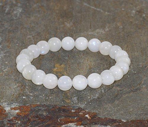 8mm Moonstone Bracelet, Moonstone Jewelry, Spiritual Healing Crystals, Yoga Mala Beads, Awakening the Goddess-Emotional Balance-Feminine Energy