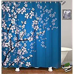 Dynabit Cherry Blossom Fabric Shower Curtain Set with 12 Hooks Mildew Resistant Shower Curtains Machine Washable Bathroom Curtains72 X 72 inch