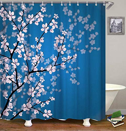 Dynabit Cherry Blossom Fabric Shower Curtain Set with 12 Hooks Shower Curtains Machine Washable Bathroom Curtains72 X 72 - Blossom Curtain Shower Cherry