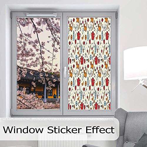 YOLIYANA Privacy Frosted Decorative Vinyl Decal Window Film,Kitchen Decor,for Bathroom, Kitchen, Home, Easy to Install,Cats Tea and Sweets Coffee Morning Muffins Milk,24''x48''
