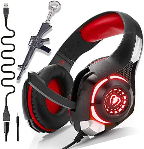 PS4 Gaming Headset with Mic,Newest Deep Bass Stereo Sound Over Ear Headphones with Noise Isolation LED Light for Xbox one PC Laptop Tablet Mac,Kids Teen Gifts (red)