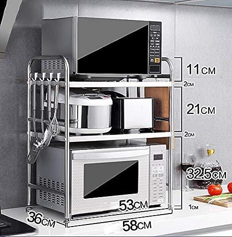 Rejilla de Cocina de Acero Inoxidable, Rejilla para Horno de microondas, Rejilla de Horno, Espacio para Guardar Utensilios de Cocina, Estilo: C 58 cm: Amazon.es: Hogar