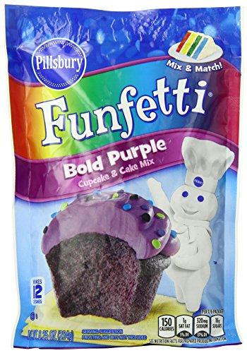 Pillsbury Funfetti Bold Purple Cupcake and Cake Mix, 8.25 Ounce (Pack of 12)