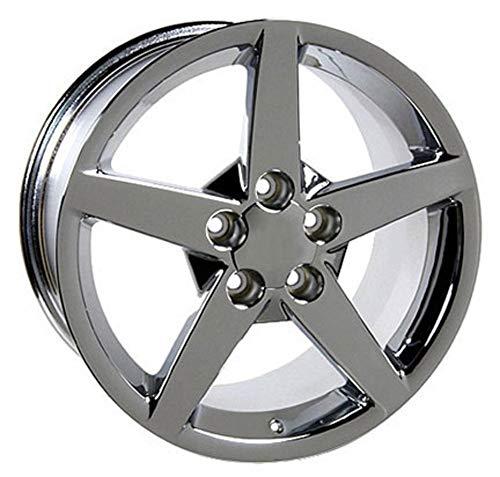 Partsynergy Replacement For Chrome Wheel Rim 17 Inch Fits 1997-2004 Chevrolet Corvette (Front) 5-120.65mm 5 Spokes Chrome 17x9.5 ()