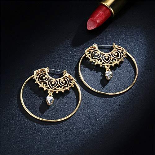 Crystal Water Drop Earrings Lady Geometric Gold Large Circle Round Hoop ()