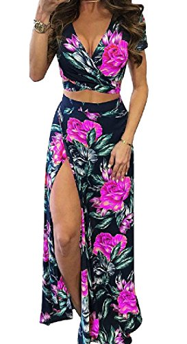 Dress Cut Out Printing Red Mid Floral Comfy Rose Womens Piece 2 Sexy Length vqaS0q
