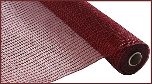 Wide Foil Deco Poly Mesh Ribbon, 10 Inches x 30 Feet (Burgundy, Red Foil) -