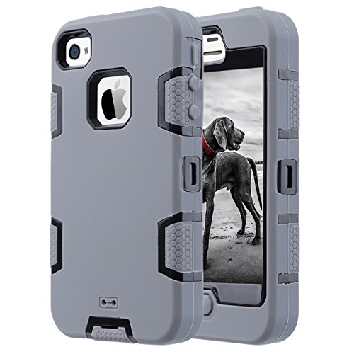 ULAK iPhone 4 Case,iPhone 4S Case, Knox Armor Shockproof Heavy Duty Combo Hybrid Defender High Impact Body Rugged Hard PC & Silicone Case Protective Cover for Apple iPhone 4 4S (Grey+Black)