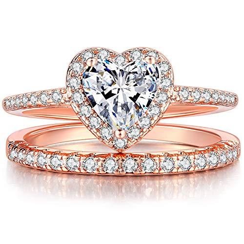 - Jude Jewelers Rhodium Plated Heart Shaped Engagement Eternity Bridal Anniversary Promise Wedding Band Ring Set (Rose Gold, 7)