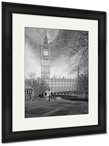 Ashley Framed Prints Famous Big Ben Clock Tower In London UK, Wall Art Home Decoration, Black/White, 30x26 (frame size), Black Frame, AG5615242 (Wall Clocks Sale London)