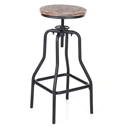 29492f521137 Amazon.com  IKAYAA Adjustable Height Swivel Bar Stool Chair Kitchen Dining  Breakfast Chair Natural Pinewood Industrial Style  Kitchen   Dining