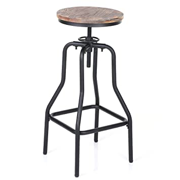 Exceptionnel Amazon.com: IKAYAA Adjustable Height Swivel Bar Stool Chair Kitchen Dining  Breakfast Chair Natural Pinewood Industrial Style: Kitchen U0026 Dining