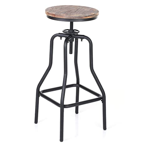 IKAYAA Adjustable Height Swivel Bar Stool Chair Kitchen Dining Breakfast Chair Natural Pinewood Industrial Style  sc 1 st  Amazon.com & Amazon.com: IKAYAA Adjustable Height Swivel Bar Stool Chair ... islam-shia.org