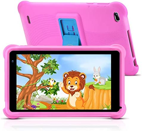 qunyiCO 7 inch Kids Tablet 32GB Android 10.0 WiFi Camera Bluetooth 2GB RAM Eye Protection HD IPS Touch Screen 1024x600 Kid-Proof Case Parental Control Learning Apps on Google Certified Playstore Pink