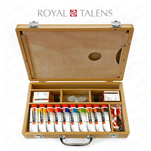 Royal Talens - Cobra Water Mixable Oil Art Set in Premium Wooden Case - With Paints, Palette, and Brushes (Palette Paint Royal)