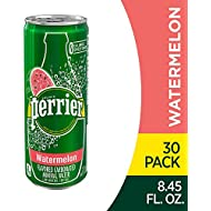 Perrier Watermelon Flavored Carbonated Mineral Water, 8.45 Fl Oz (Pack of 30) Slim Cans
