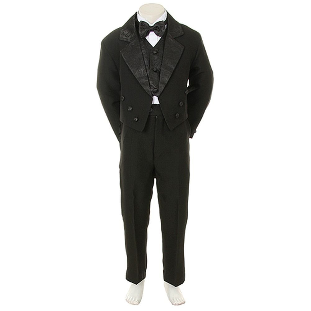 Angels Garment Infant Boys Black Notched Tuxedo 5 Pc Set 6-9M