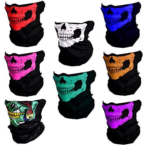 CIKIShield Seamless Skull Face Mask Bandana Motorcycle Face Masks Skeleton Face Shield (8pcs-color-setA)