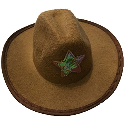 Rubies Pet Shop Brown Cowboy Hat / Sheriff Hat for Dogs - Size Medium/Small