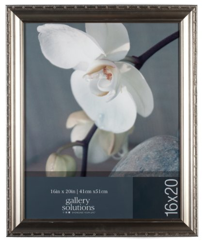 Gallery Solutions Embossed Silver Floral Frame, 16 by 20-Inch