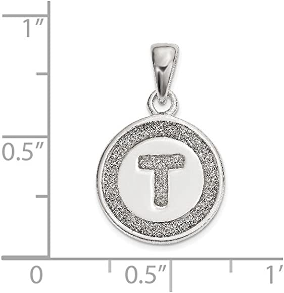 Solid 925 Sterling Silver Letter I with Enamel Pendant