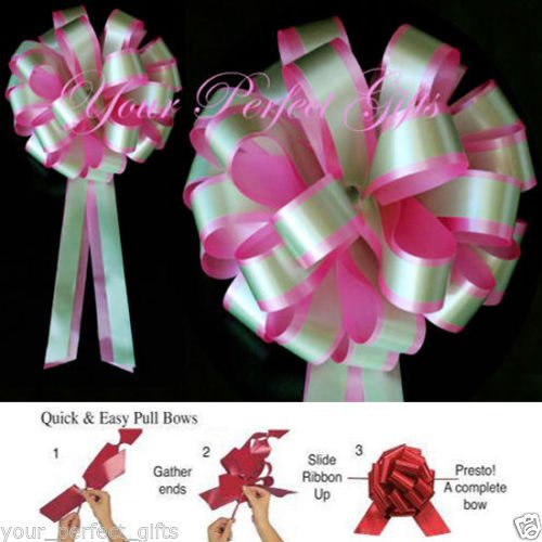 PINK GREEN WEDDING 8'' PULL PEW BOW BRIDAL DECORATION