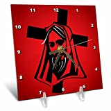3dRose Sven Herkenrath Religion - Jesus Vector Graphic Black on Red Background - 6x6 Desk Clock (dc_281667_1)