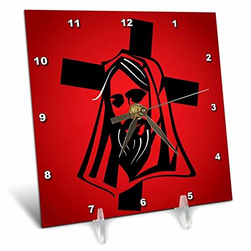 3dRose Sven Herkenrath Religion - Jesus Vector Graphic Black on Red Background - 6x6 Desk Clock (dc_281667_1) by 3dRose