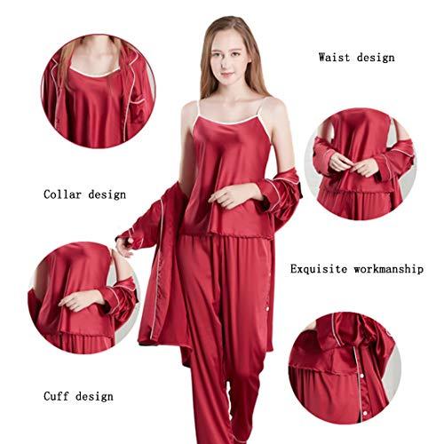 Indossare Di XL Seta Di In Casual Donna Da Pigiama Set Abbigliamento Casa Seta Red 3 Donna Da Pigiami Da Da Pantaloni Loveni 4UAZPqnP