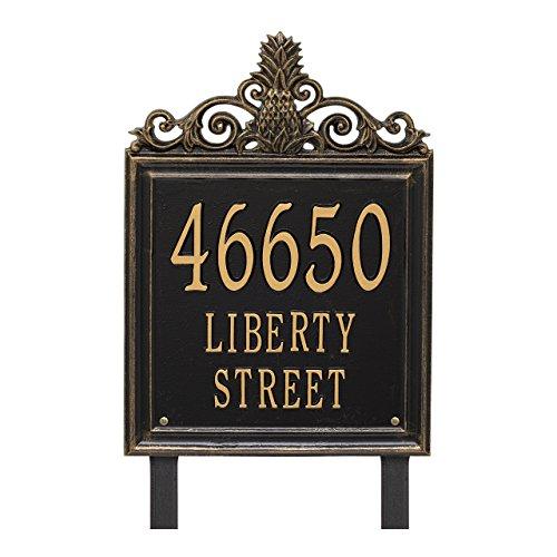 "(Custom Lanai Pineapple Estate LAWN Address Plaque 19""H (3 Lines))"