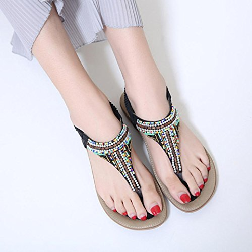 Colorful TM Women Low-Heeled Summer Sandals Shoes Bead Bohemia Leisure Lady Sandals Peep-Toe Outdoor Beach Sandals Shoes Black v79m7NN