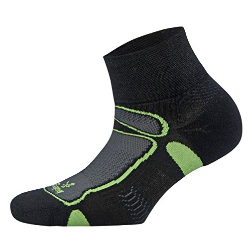 Balega Ultralight Quarter Socks for Men and Women (1-Pair), Black/Lime, (Ultralight Mens Socks)