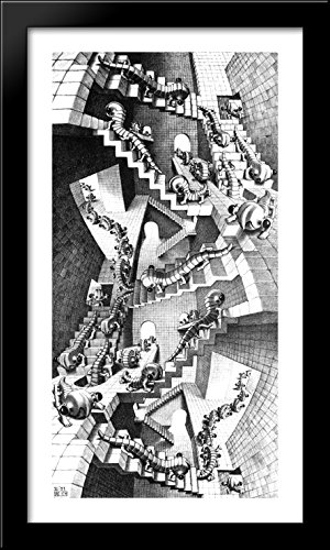 House of Stairs 22x40 Large Black Wood Framed Print Art by M.C. Escher