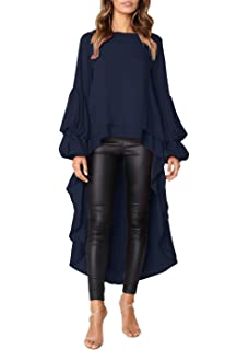66871cdf648 Just For Future Women s Casual Lantern Sleeve Double Layered High Low  Asymmetrical Irregular Hem Tops Blouse