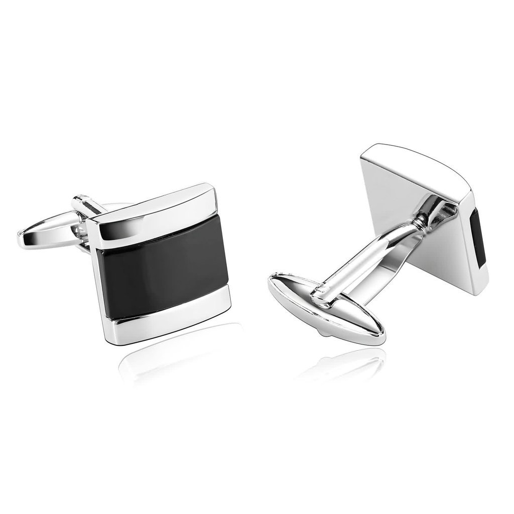 KnSam Men Stainless Steel French Cufflinks Laser Cut Camber Square Black