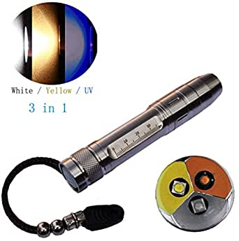 Led Uv Flashlight 365nm R5 Jade Jewelry Gemstone Identification Lights Ultraviolet/Yellow/White 3 In 1 Light Measurement Scale With 18650 Battery