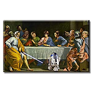DJSYLIFE 1 Piece Star Wars Canvas Art The Last Supper Home Decor Movie Poster Artwork Decoration Painting Prints on Livingroom Diningroom Stretched Framed Ready to Hang